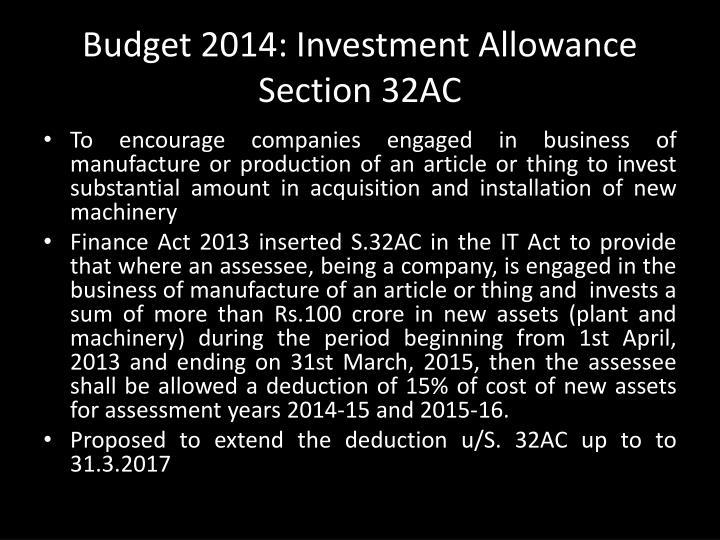 Budget 2014: Investment Allowance