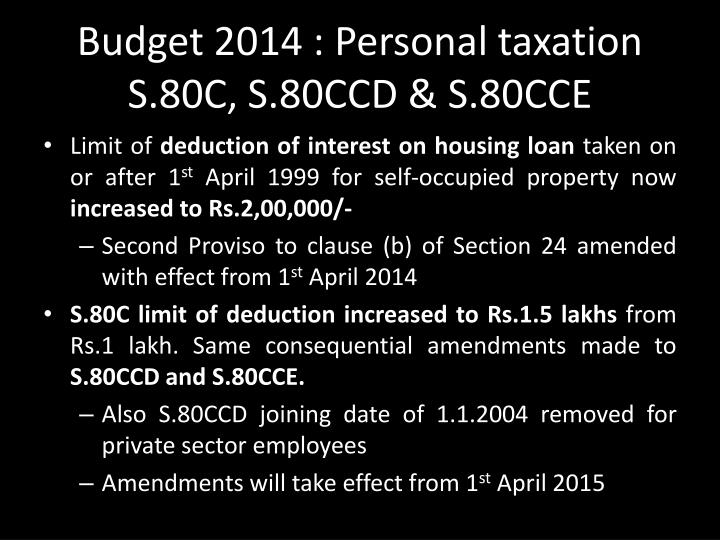 Budget 2014 : Personal taxation