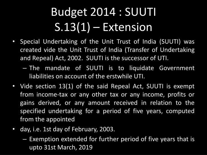 Budget 2014 : SUUTI