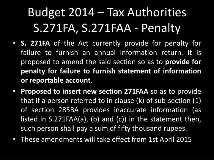 Budget 2014 – Tax Authorities