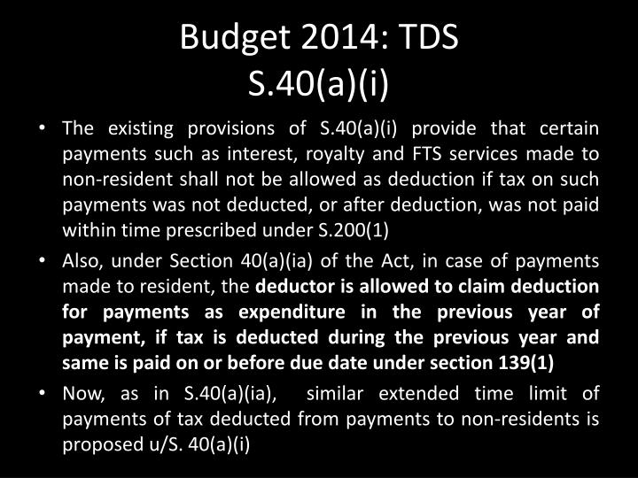 Budget 2014: TDS