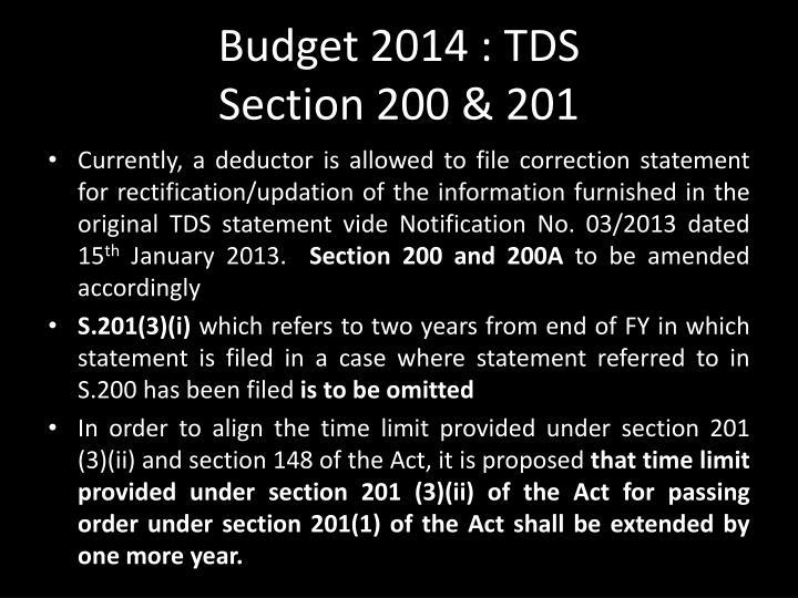 Budget 2014 : TDS