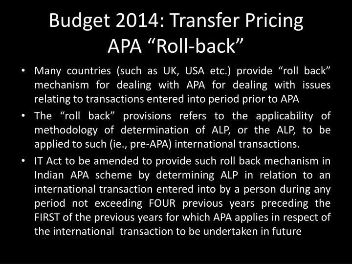 Budget 2014: Transfer Pricing