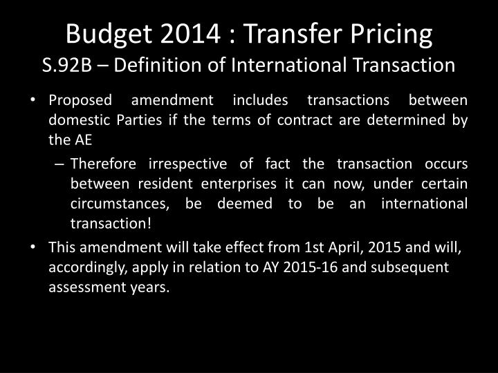 Budget 2014 : Transfer Pricing