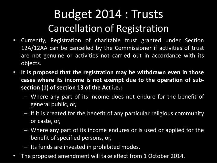 Budget 2014 : Trusts