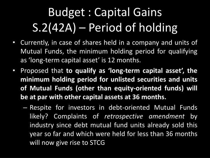Budget : Capital Gains