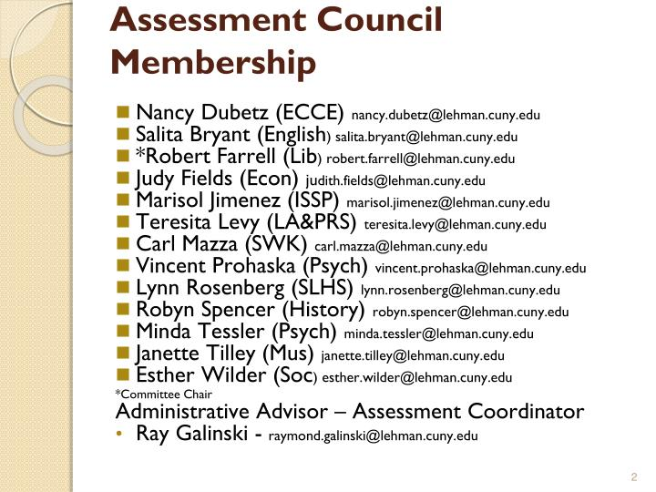 Assessment Council Membership