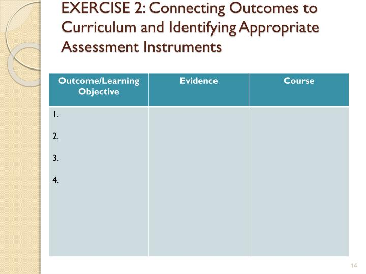 EXERCISE 2: Connecting Outcomes to Curriculum and Identifying Appropriate Assessment Instruments