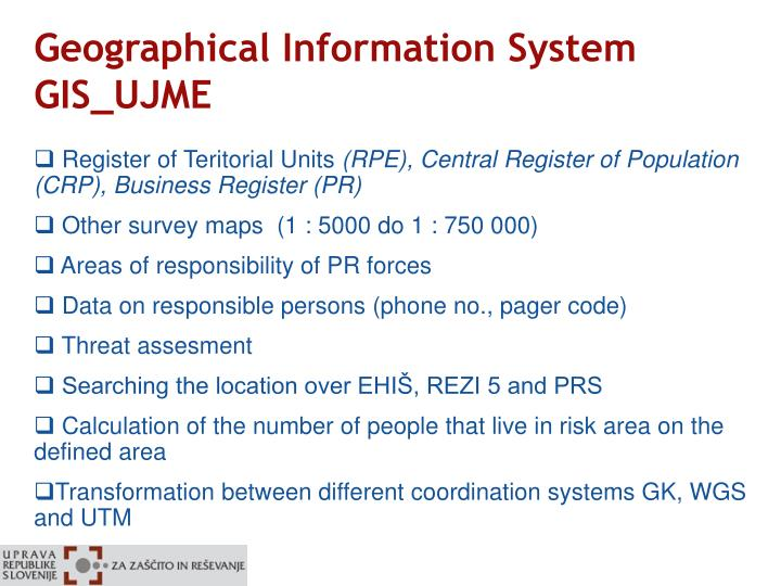 Geographical Information System GIS_UJME