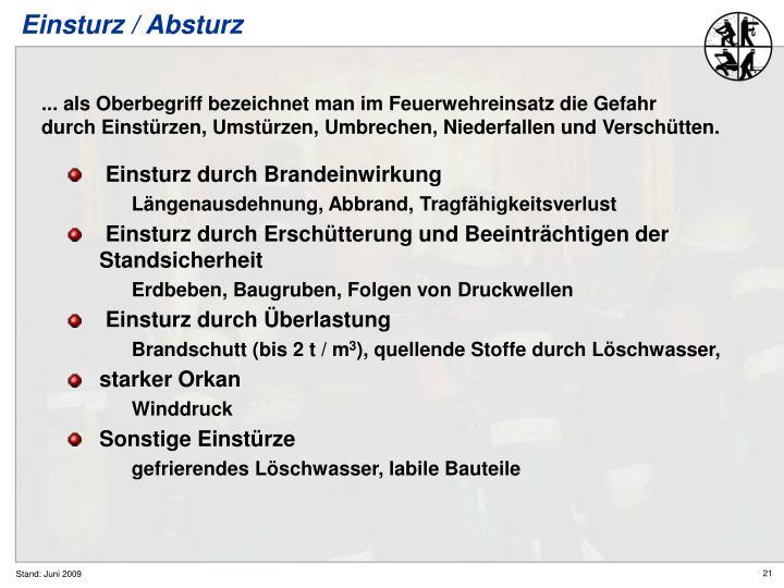 Einsturz / Absturz