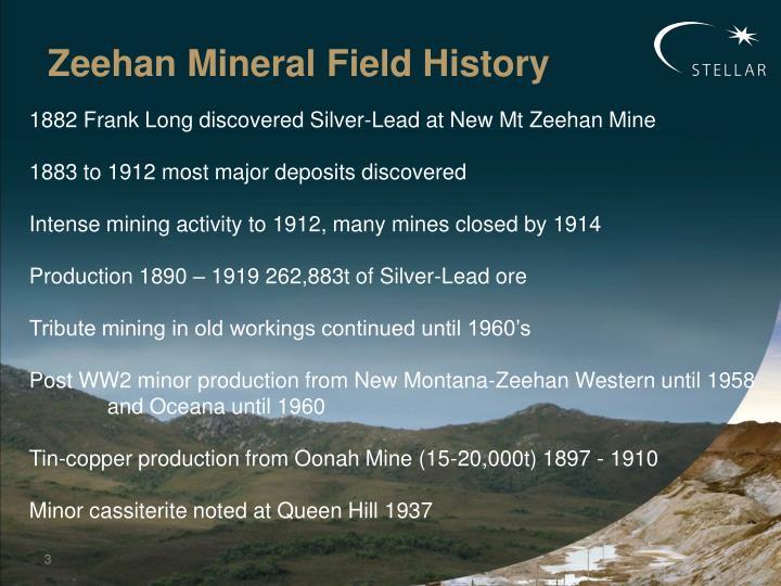 Zeehan Mineral Field History