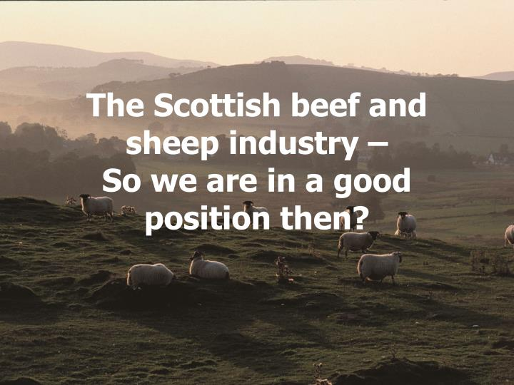 The Scottish beef and sheep industry –