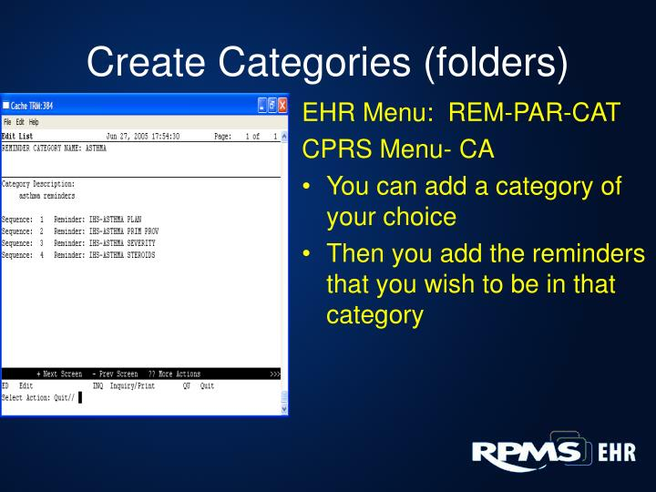 EHR Menu:  REM-PAR-CAT