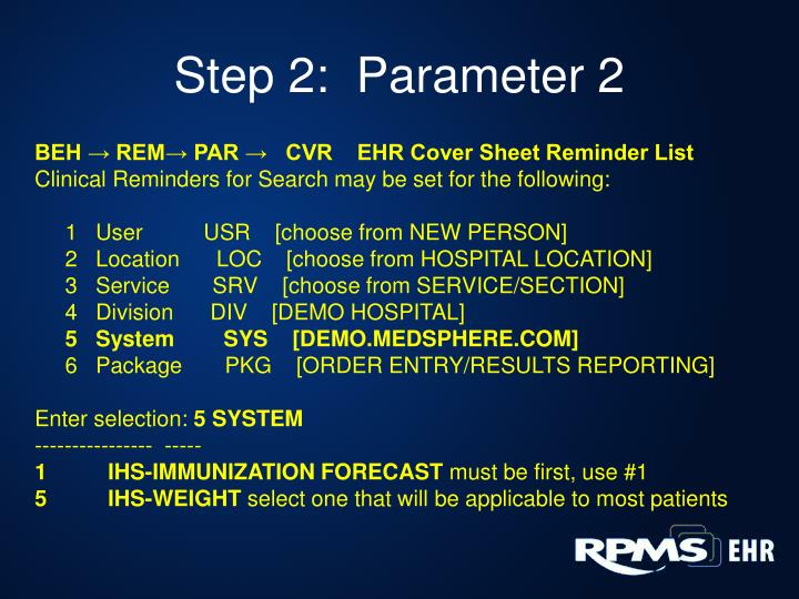 Step 2:  Parameter 2