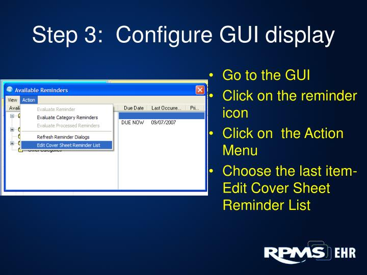Step 3:  Configure GUI display