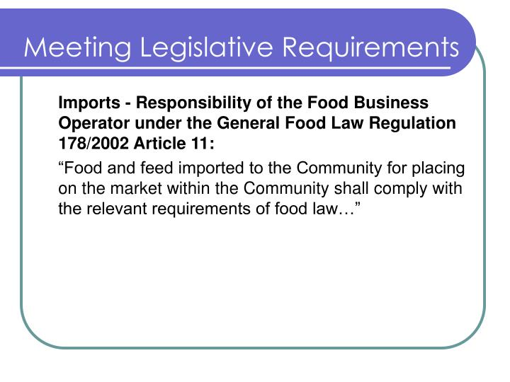 Meeting Legislative Requirements