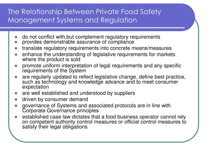 The Relationship Between Private Food Safety Management Systems and Regulation