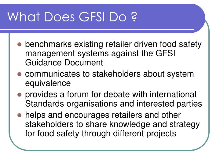 What Does GFSI Do ?