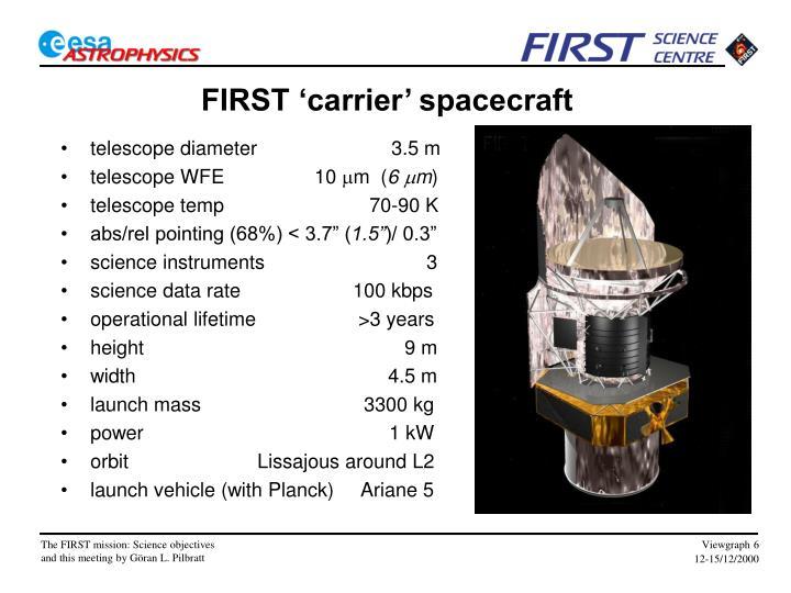 FIRST 'carrier' spacecraft