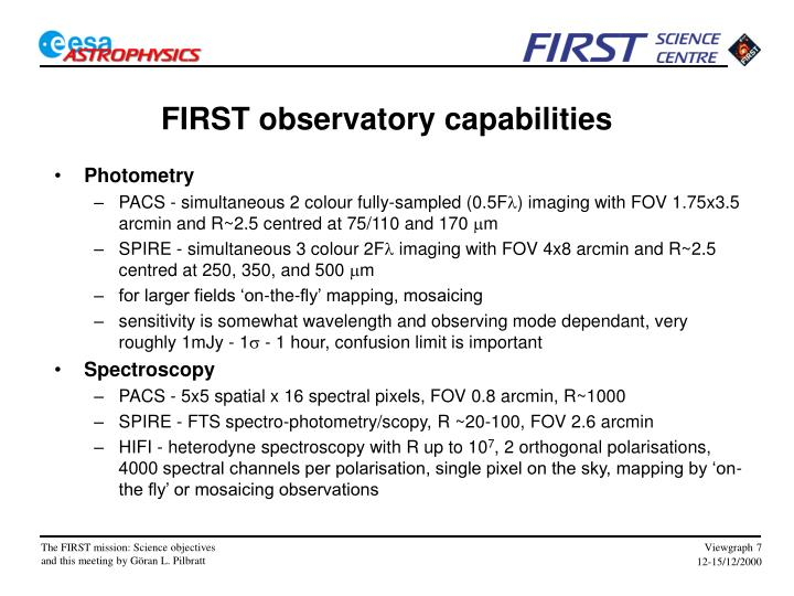 FIRST observatory capabilities