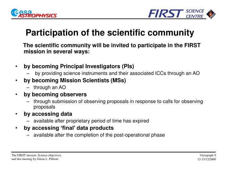 Participation of the scientific community