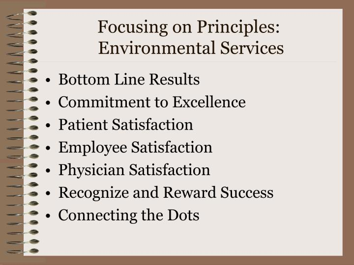 Focusing on principles environmental services