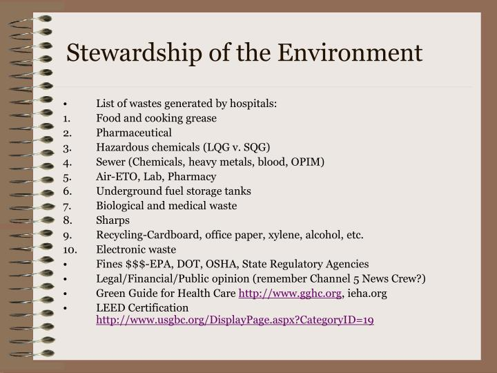 Stewardship of the Environment