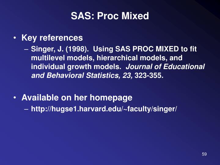 SAS: Proc Mixed