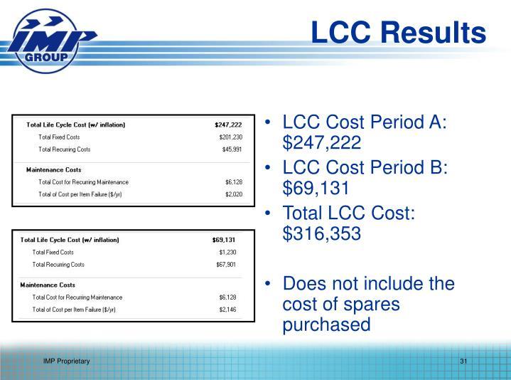 LCC Cost Period A: $247,222