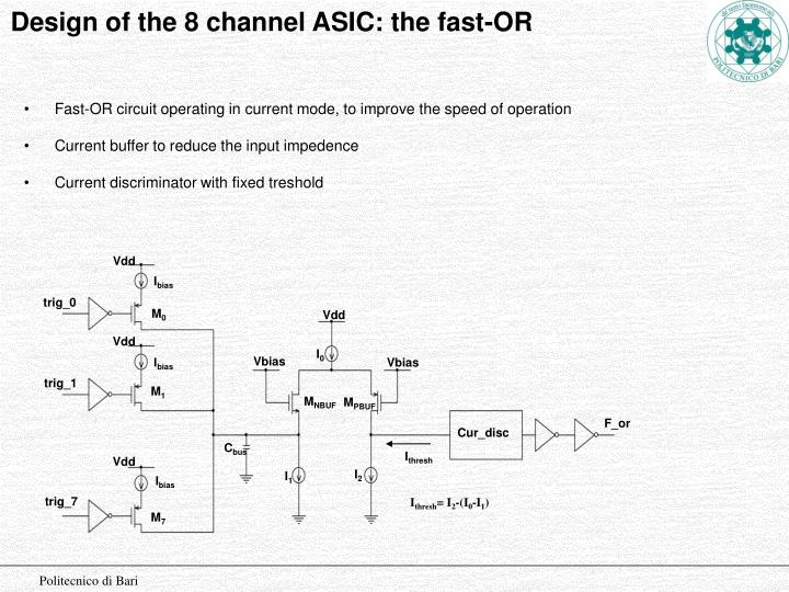 Design of the 8 channel ASIC: the fast-OR