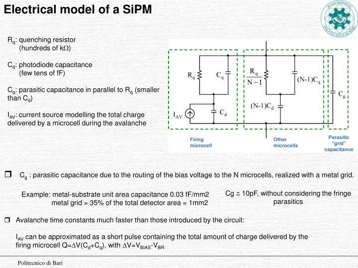 Electrical model of a SiPM