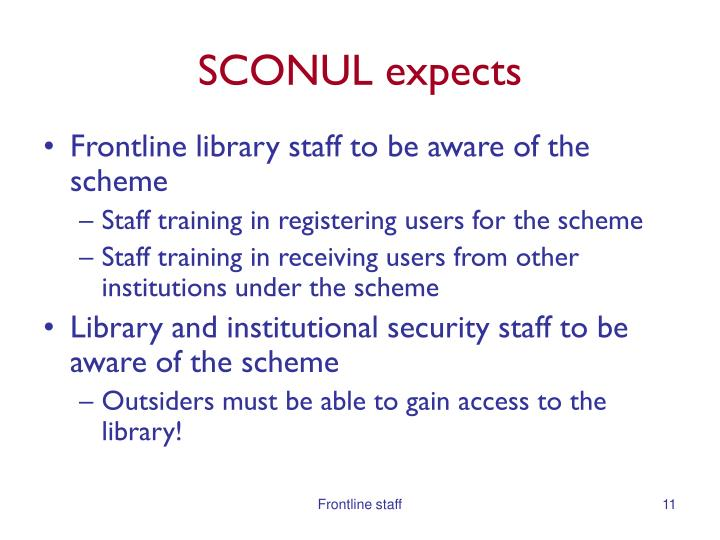 SCONUL expects