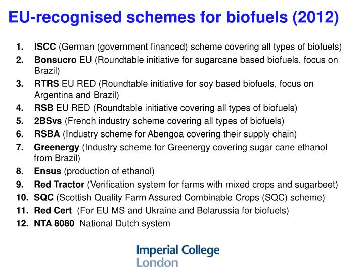 EU-recognised schemes for biofuels (2012)