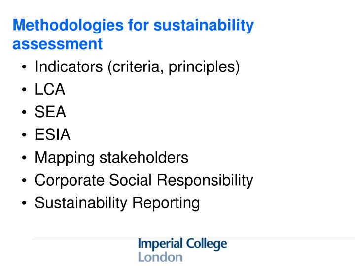 Methodologies for sustainability assessment