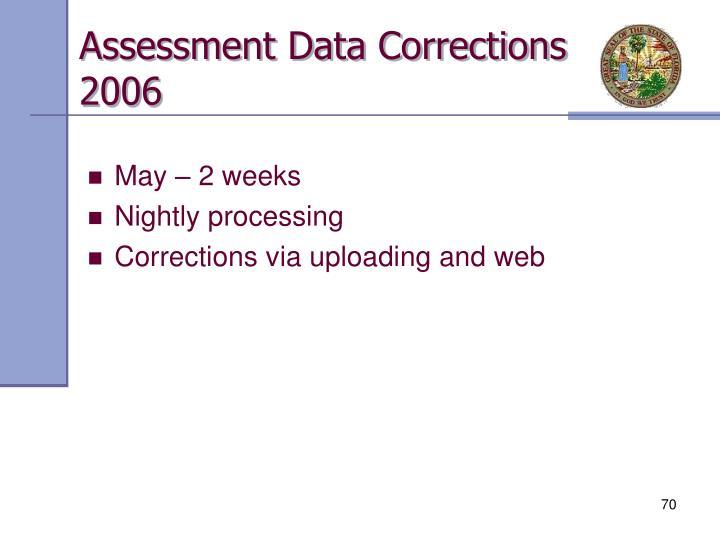 Assessment Data Corrections 2006