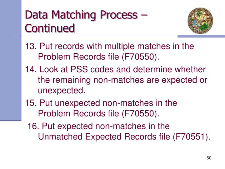 Data Matching Process – Continued