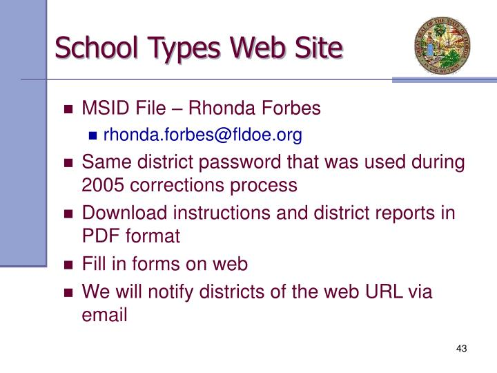 School Types Web Site