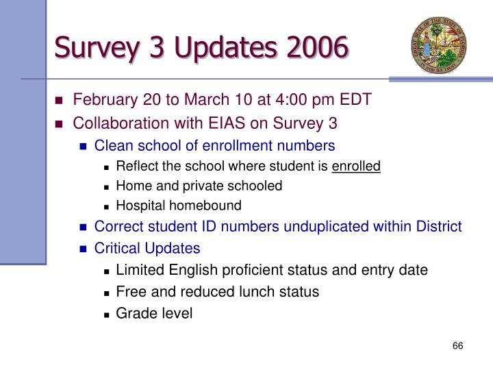 Survey 3 Updates 2006