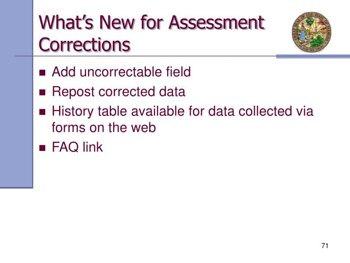 What's New for Assessment Corrections