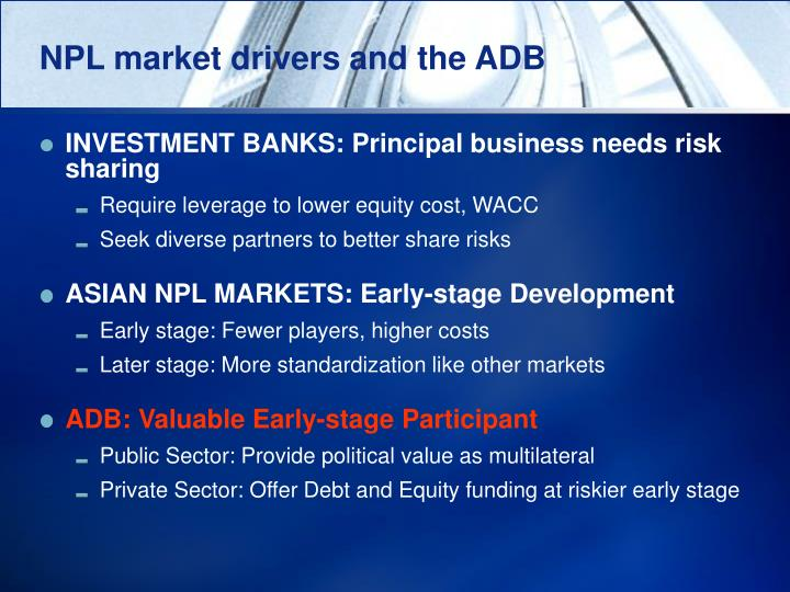 NPL market drivers and the ADB