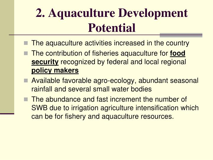2. Aquaculture Development Potential