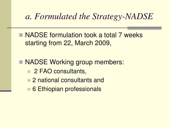 a. Formulated the Strategy-NADSE
