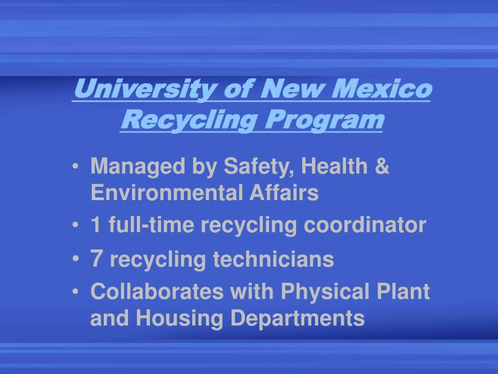 University of New Mexico Recycling Program