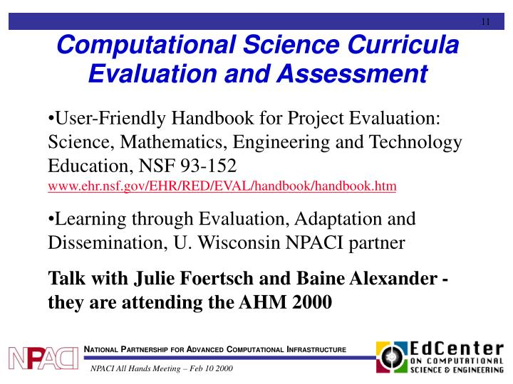 Computational Science Curricula Evaluation and Assessment