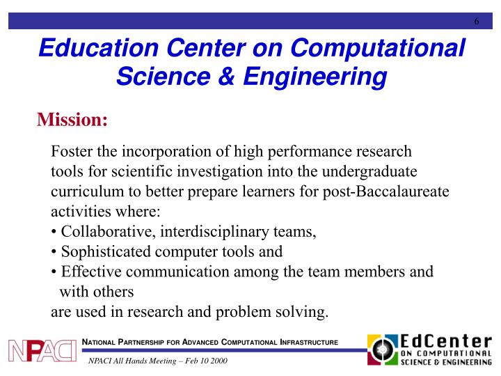 Education Center on Computational Science & Engineering