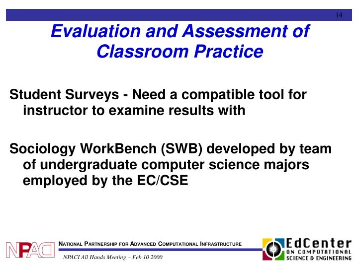 Evaluation and Assessment of Classroom Practice