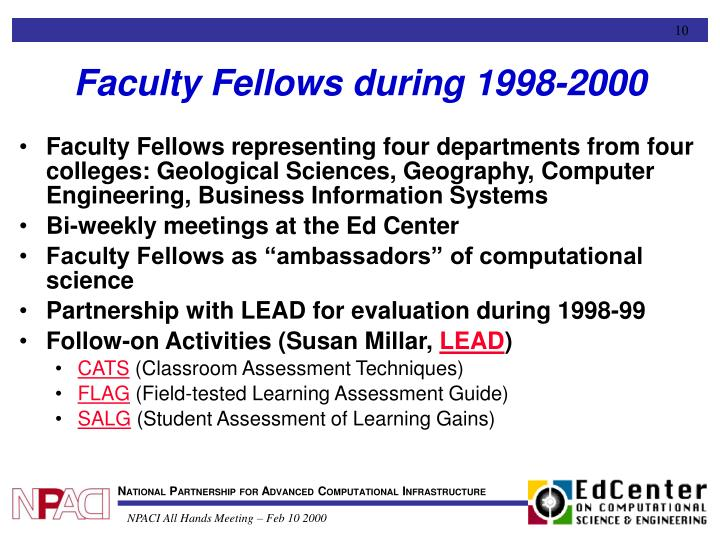 Faculty Fellows during 1998-2000