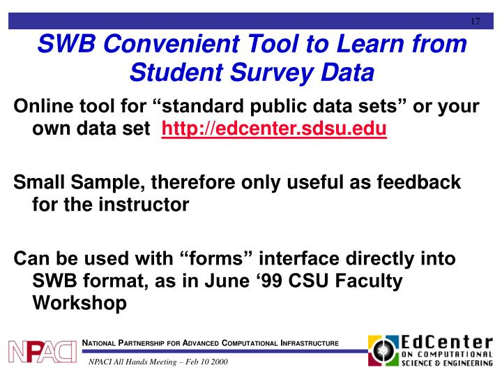 SWB Convenient Tool to Learn from Student Survey Data