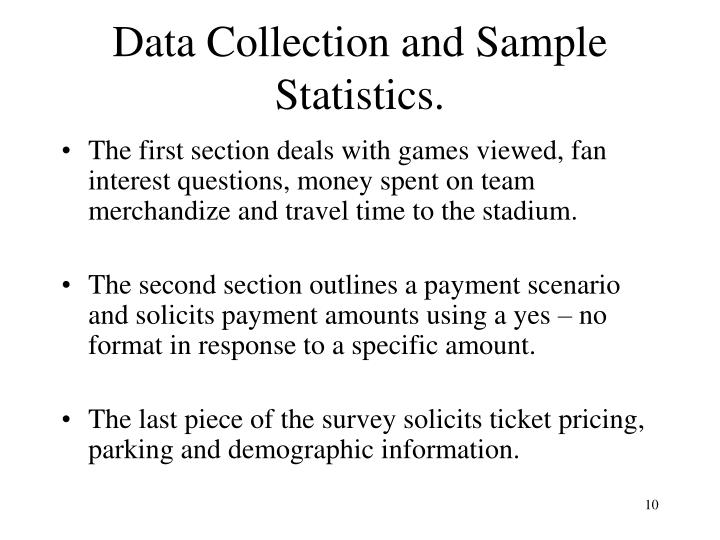 Data Collection and Sample Statistics.
