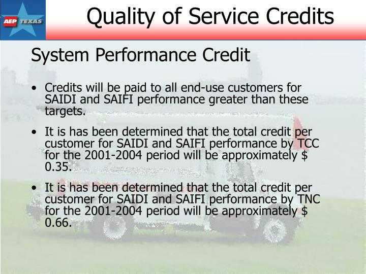 System Performance Credit